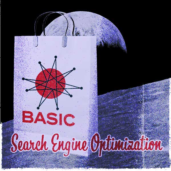 Shopping Bag for Omnifonic's Basic SEO package in front of a photograph of the moon