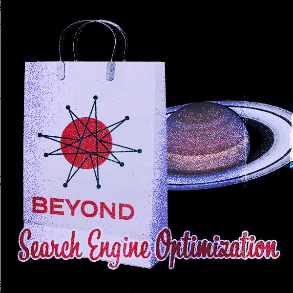 Omnifonic Beyond Search Engine Optimization Bag in front of Saturn