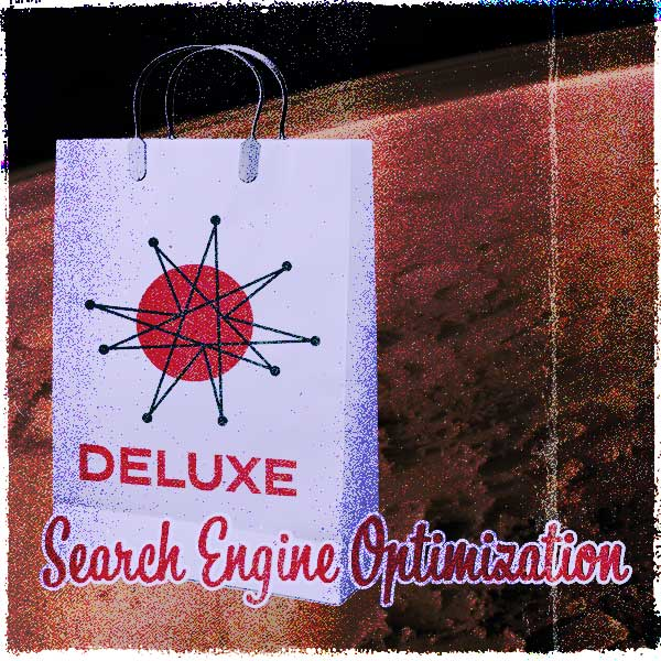 Omnifonic's Deluxe Search Engine Optimization Shopping Bag in front of Mars